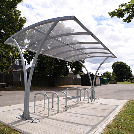 Cambridge Jnr cycle shelter and Sheffield Cycle Rack