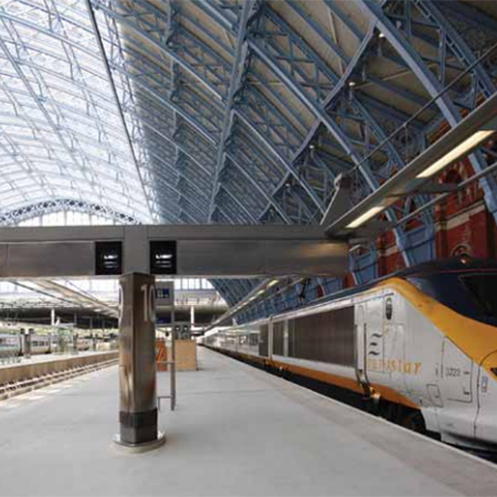 Silver metallic powder coating for St Pancras Station