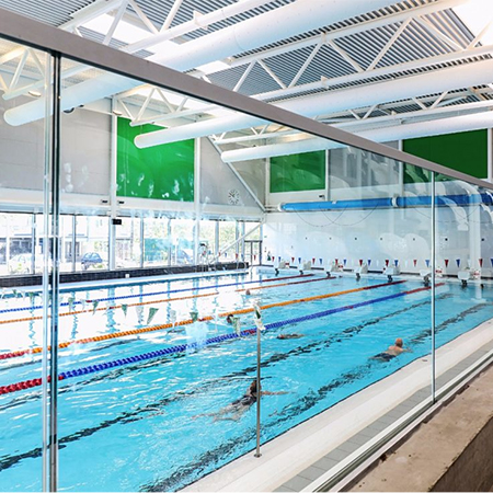 Post & glass balustrades for leisure centre