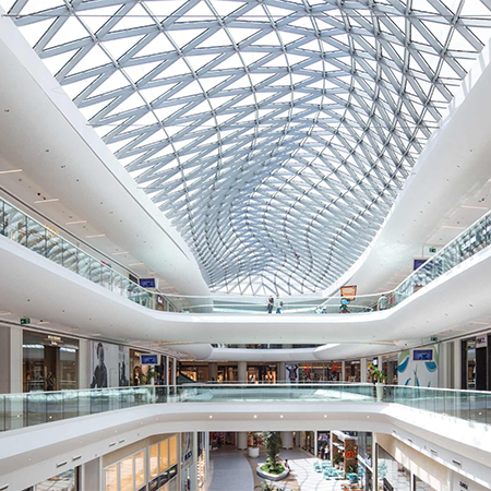 Large Skylights Illuminate Shopping Mall