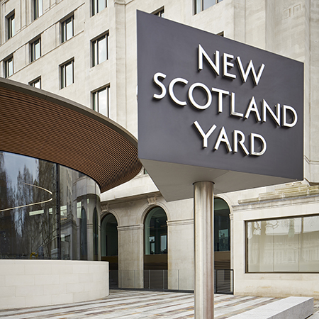 Custom metal ceiling at New Scotland Yard