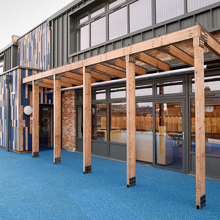 Timber canopy for Ysgol Pen Rhos