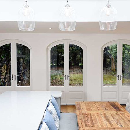Arch topped French doors for 1930's home
