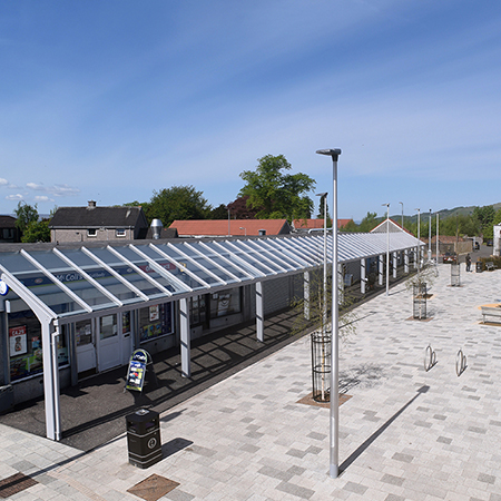 Broxap canopies provide shelter at Tron Court