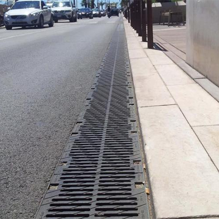 Heavy-duty drainage channels at Cannes Dock