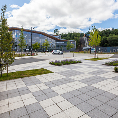 Tobermore Mayfair Flags Silver & Graphite - Ebbw Vale College Square