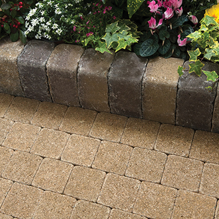 Tobermore Tegula Kerb Large Bracken with Tegula Setts Golden