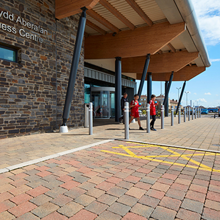 Tobermore Tegula Cedar, Hydropave Tegula Duo Heather, Country Kerb Granite - Aberavon Leisure & Fitness Centre, Port Talbot