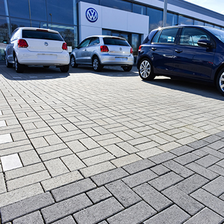 Tobermore VW Showroom - Hydropave Pedesta Charcoal & Natural