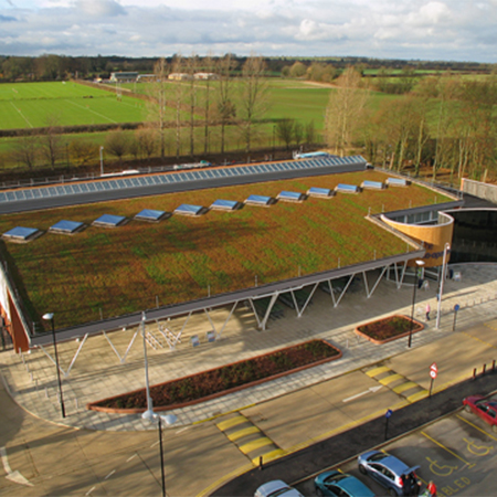 Blackdown green roof for energy-efficient retail store