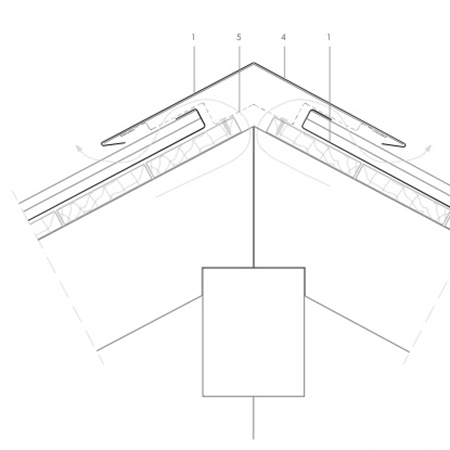 Detail adapted for the house which allows for a clean joint between ventilated hip and ventilated ridge
