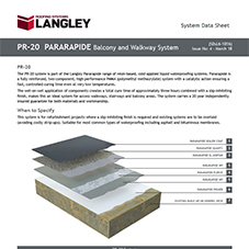 PR-20 Pararapide Balcony and Walkway System Data Sheet