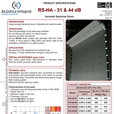 RS-HA - 31 & 44 dB - Acoustic Sectional Doors