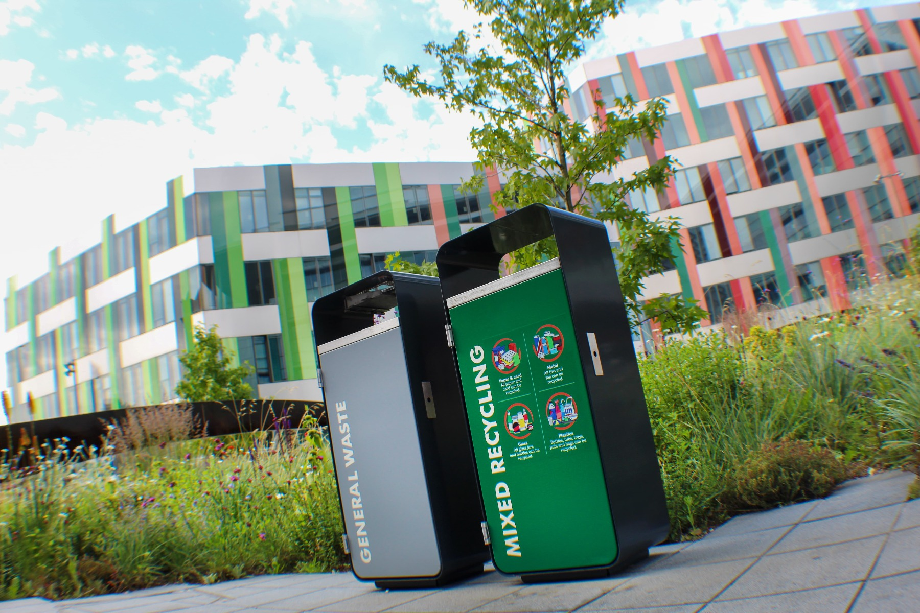 Modern Ascot Litter Bins for The University of Sheffield campus