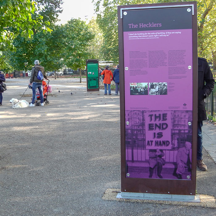 Colourful Icaro Notice Boards provide history of Speakers' Corner