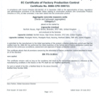 EC Certificate of Factory Production Control: Cert No. 0086-CPD-599721