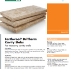 Earthwool DriTherm Cavity Slabs Technical Data