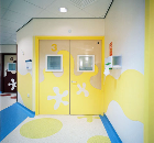 Acrovyn Sheet on walls and doors at Alder Hey Children's Hospital