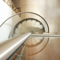 metal glass spiral staircase