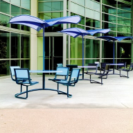 Landscape Forms Mingle attached seating system