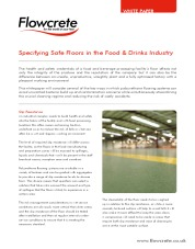 Specifying safe floors in the food drinks industry