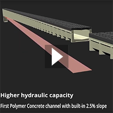 First Polymer Concrete channel with built-in 2.5% slope by ULMA