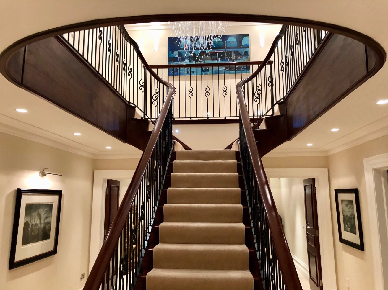 Bespoke mahogany and wrought iron staircase 1 4